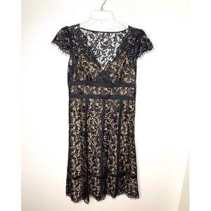 < LOFT Black Lace Dress >